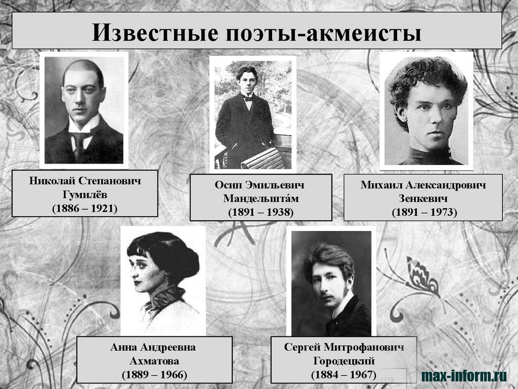 инфографика Известные поэты акмеисты